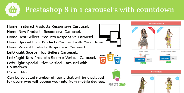 Prestashop 8 in 1 Carousel s with Countdown Pack Module