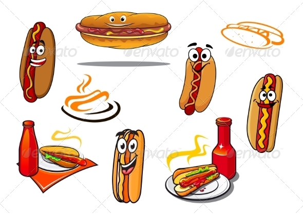 GraphicRiver Hotdog Cartoon Characters and Symbols 8787920