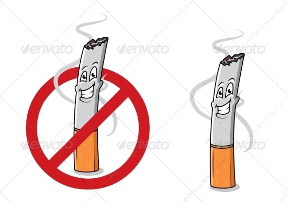 GraphicRiver Cartoon Happy Cigarette Butt 8787988