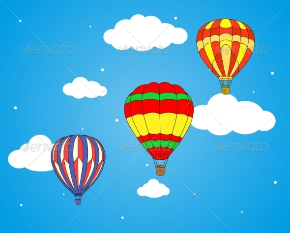 GraphicRiver Air Balloons and Clouds Wallpaper 8787990