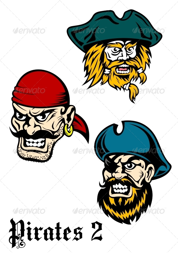 GraphicRiver Cartoon Brutal Pirate Captains Set 8788001