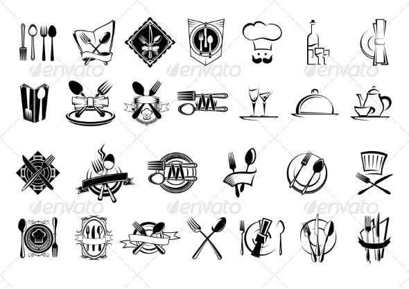 GraphicRiver Food Restaurant and Silverware Icons Set 8788071