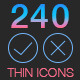 240 Thin Line Icons - GraphicRiver Item for Sale