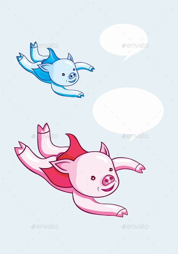 GraphicRiver Pig Flying Cartoon 8788349