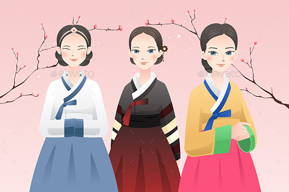 GraphicRiver Women Wearing Traditional Korean Outfit 8789057