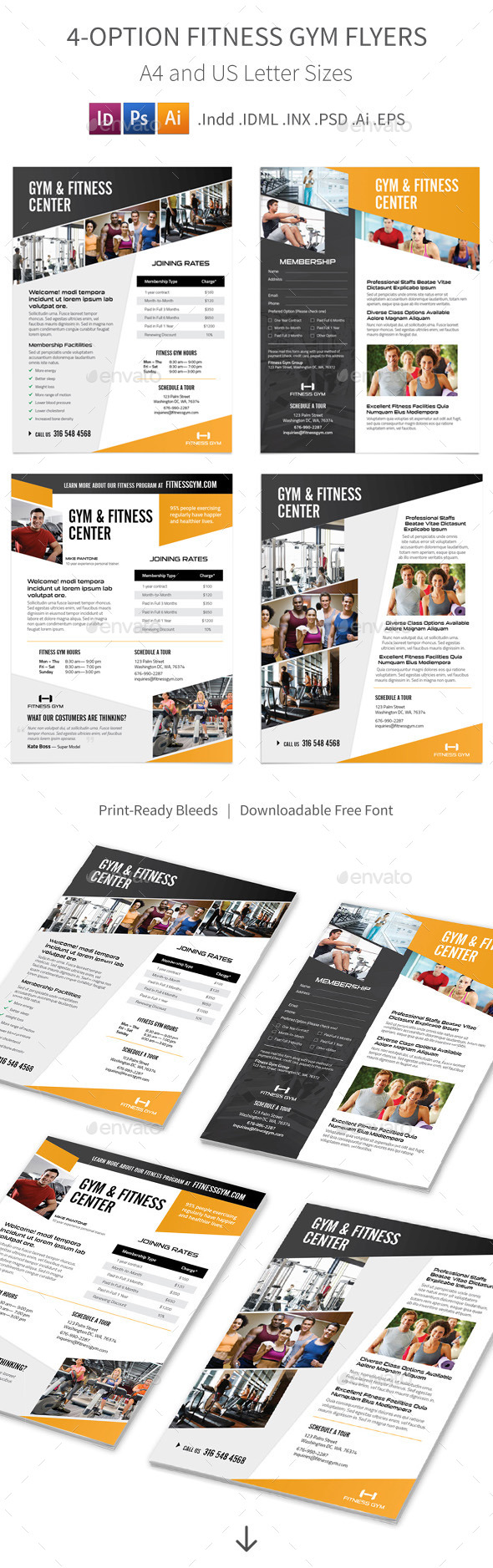 Fitness Gym Flyers – 4 Options