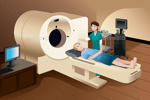 GraphicRiver Patient Lying Down on a Scan Machine 8789209