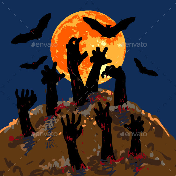 GraphicRiver Zombies s Hands Emerge from Grave 8789525