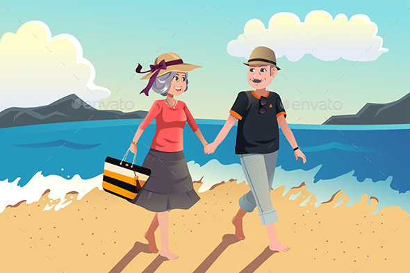 GraphicRiver Senior Couple Walking on the Beach 8789583