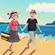 Senior Couple Walking on the Beach - GraphicRiver Item for Sale