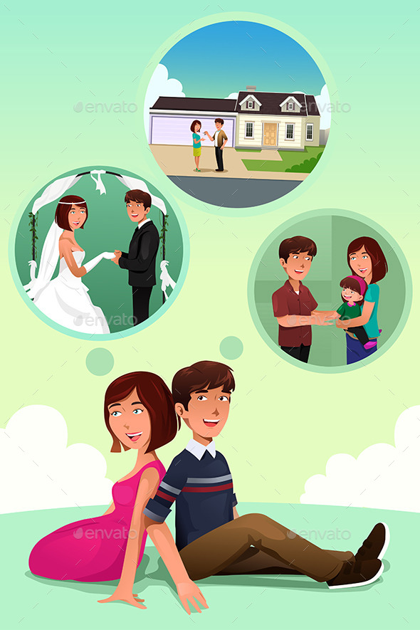 GraphicRiver Young Couple Imagining Their Life Together 8789596