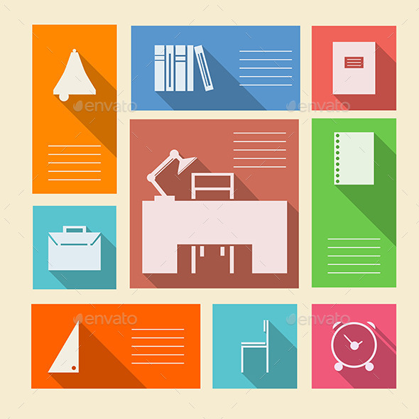 GraphicRiver Colored Vector Icons for School Supplies 8789666