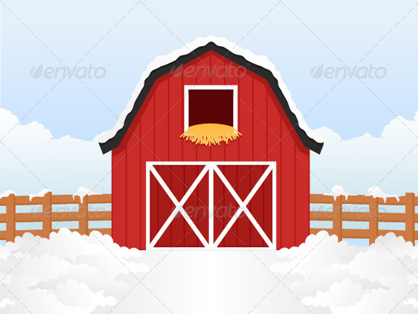Cartoon Barn Barn Buildings Objects
