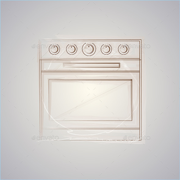 GraphicRiver Sketch Vector Illustration of Oven 8789717