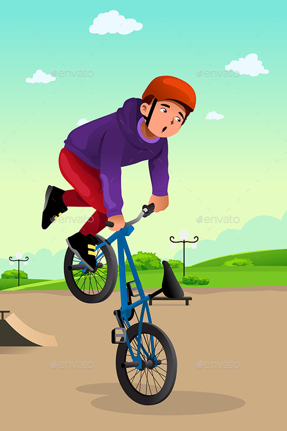GraphicRiver Boy Doing a Bike Stunt 8789719