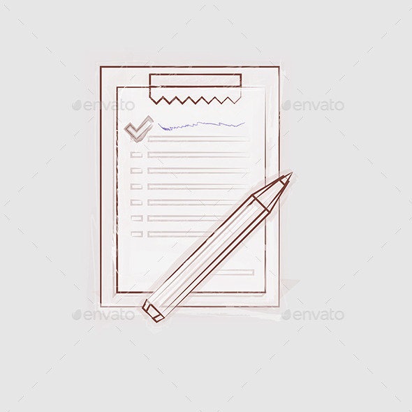 GraphicRiver Sketch Illustration of Clipboard for Outsource 8789753