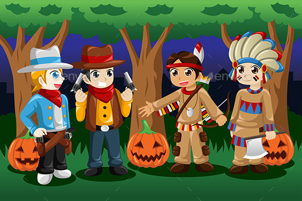 GraphicRiver Boys Dressed up as Cowboys and Native Americans 8789781