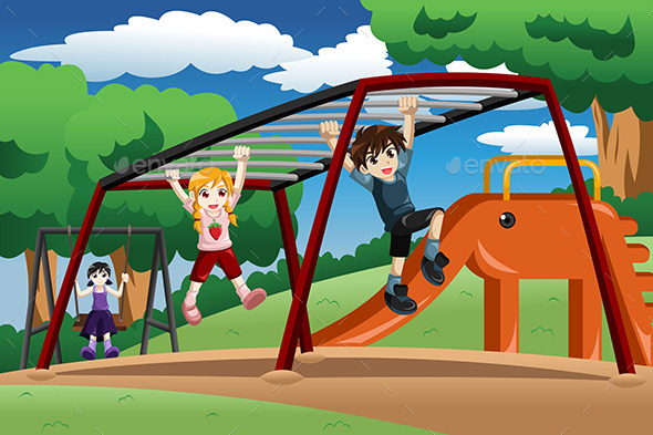 GraphicRiver Kids Playing on a Monkey Bar at the Playground 8789805