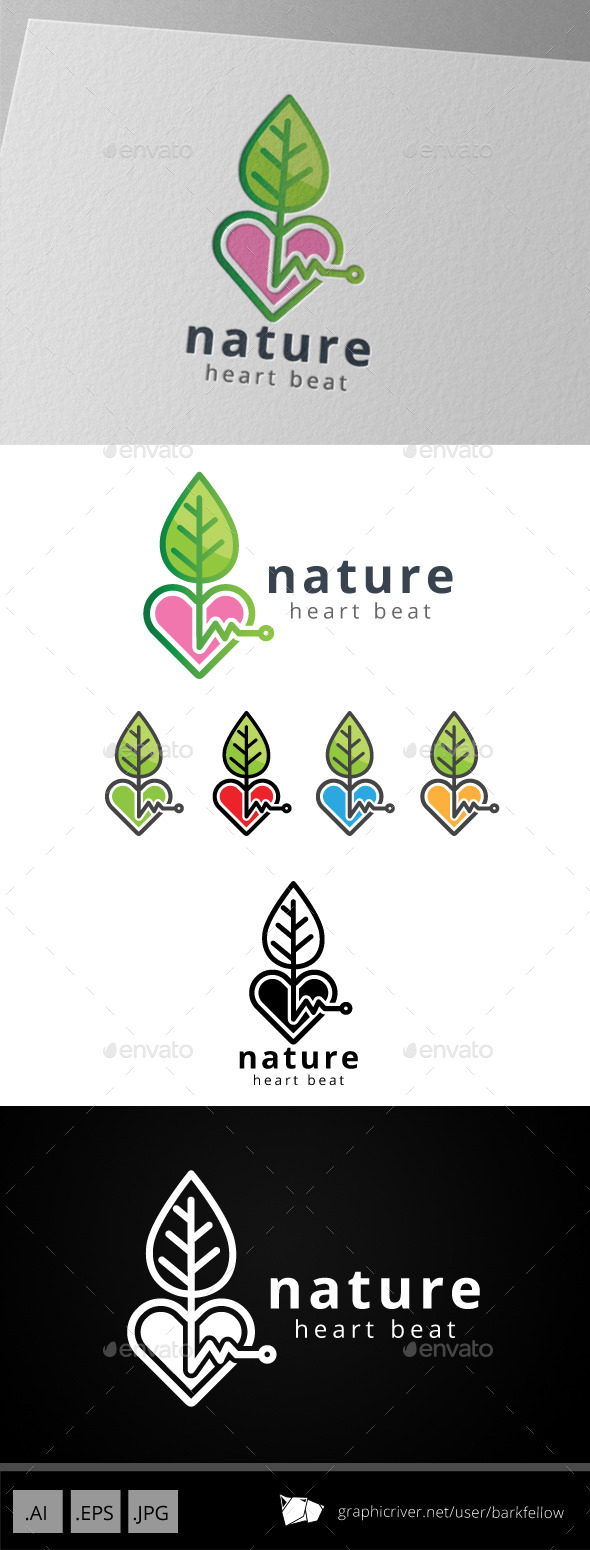 GraphicRiver Nature Love Heart Beat Logo 8789845