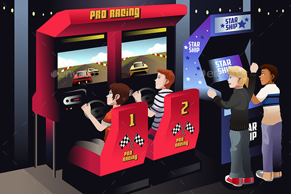 GraphicRiver Boys playing Car Racing in an Arcade 8789853