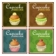 Set of Four Vintage Posters Cupcake.  - GraphicRiver Item for Sale