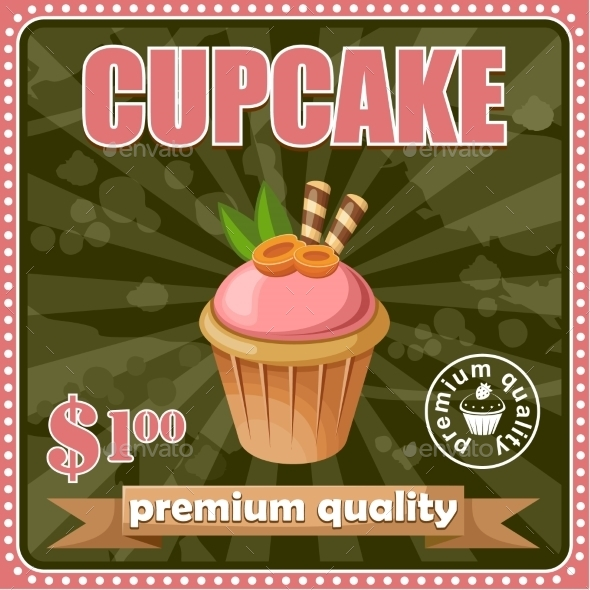 GraphicRiver Vintage Cupcake Poster 8789950