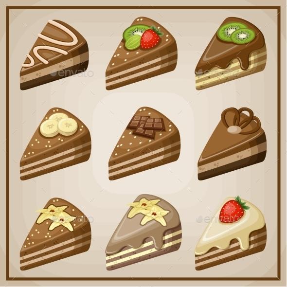 GraphicRiver Set of Cakes 8789953