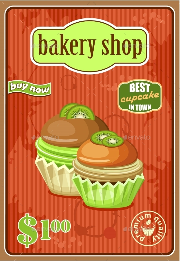 GraphicRiver Vintage Cupcake Poster 8789956