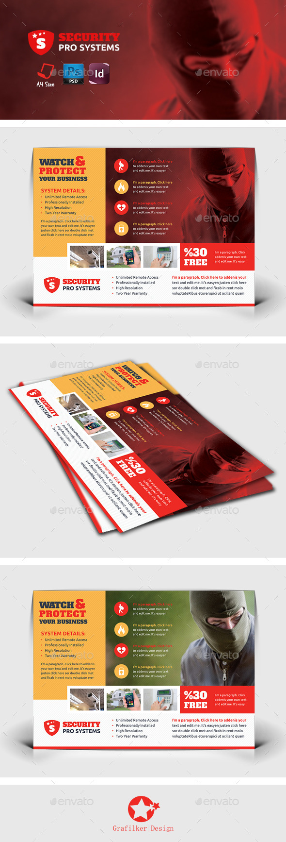 GraphicRiver Security Systems Flyer Templates 8790086