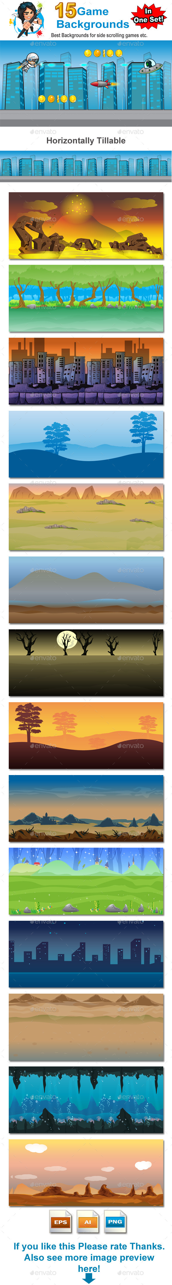 GraphicRiver Game Backgrounds in one Set 8790161