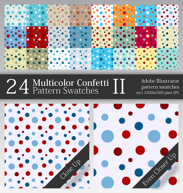 24 Multicolor Confetti Pattern Swatches II