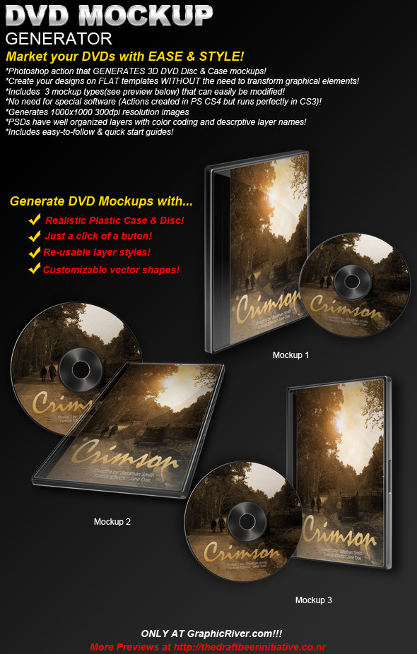 DVD/CD Mockup Generator (Actions & Templates set)