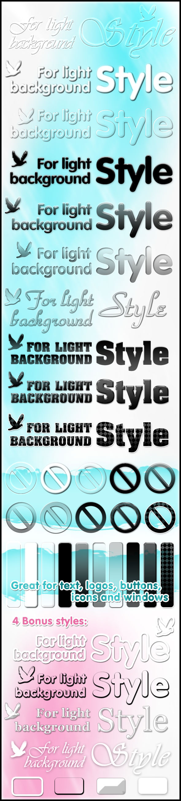 Styles for light background - Text Effects Styles