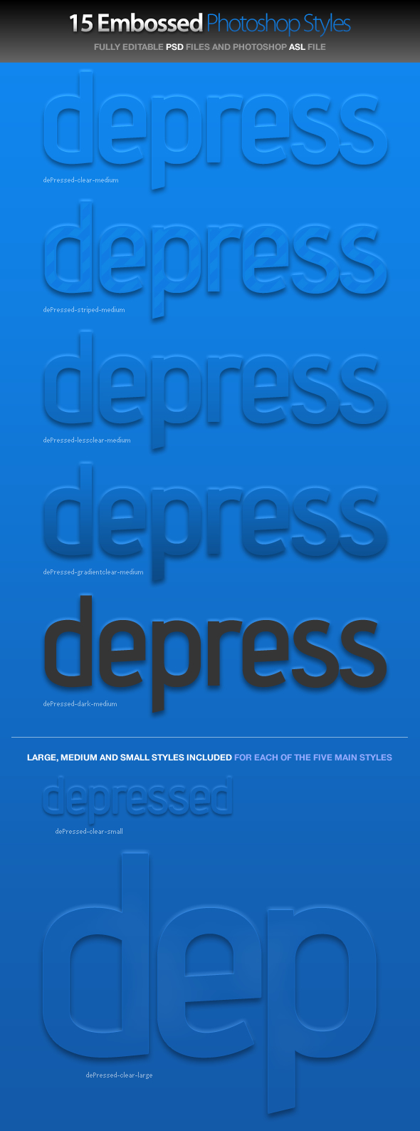 dePressed - Embossed Photoshop Styles - Text Effects Styles