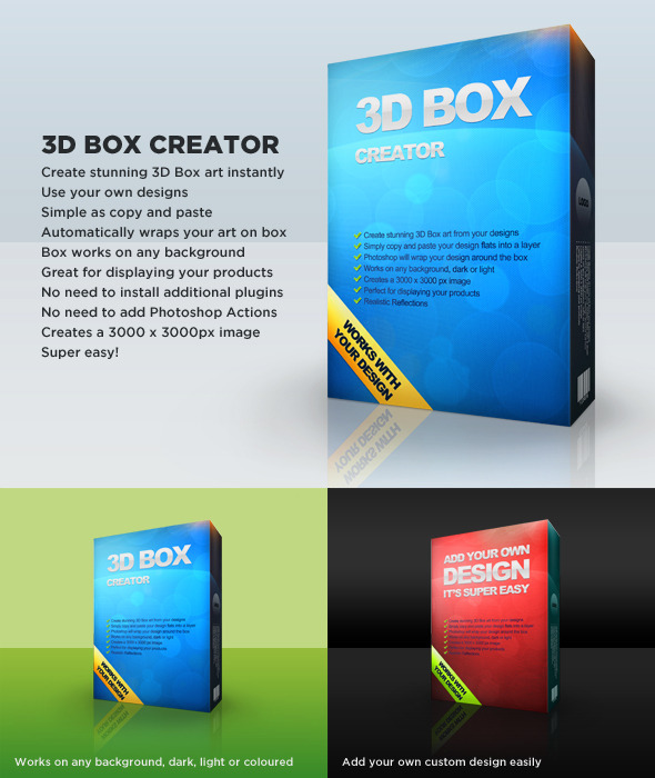 3D Box Art Creator Editable Template - Photoshop Add-ons