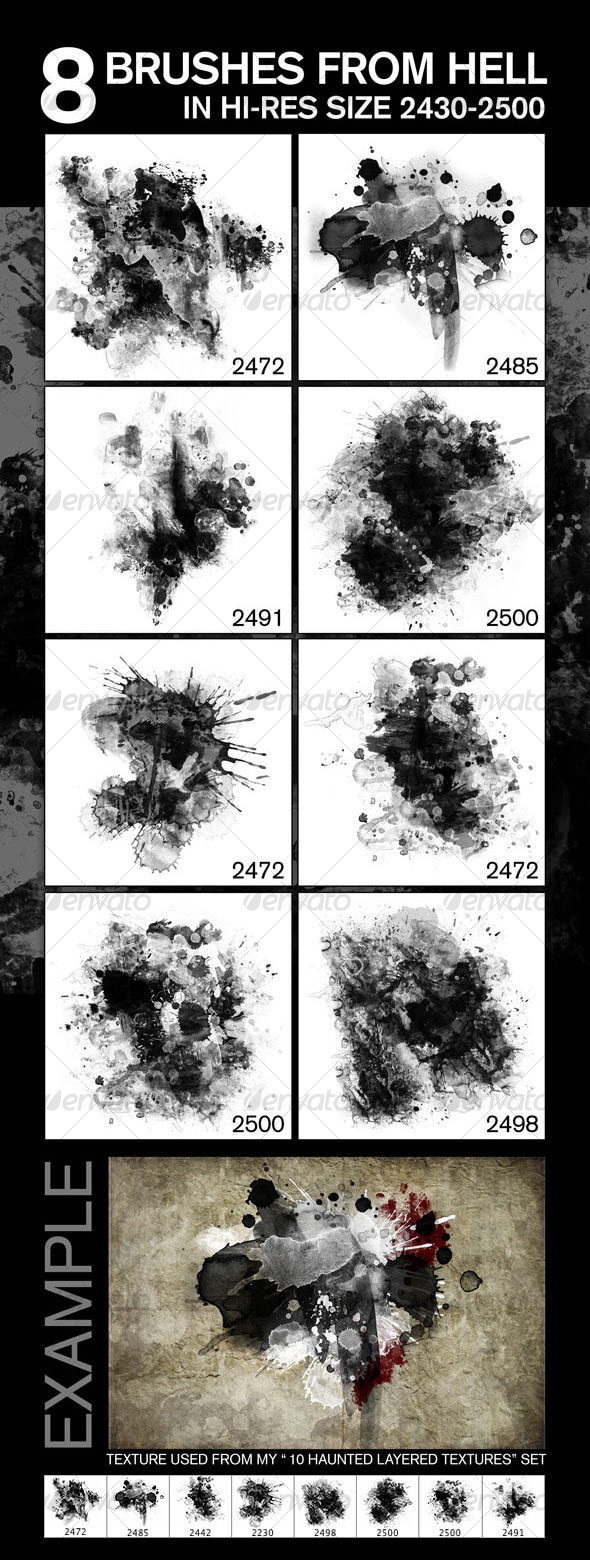 8 Fabulous Hi-Res Brushes (.ABR) from Hell! - Abstract Brushes