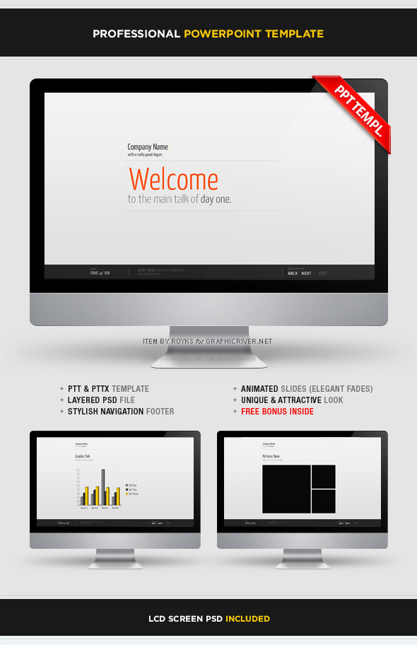Professional Template With Footer - Business PowerPoint Templates