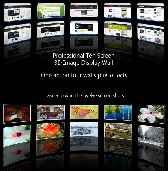 Ten Screen 3D Videowall Webpage Display Action