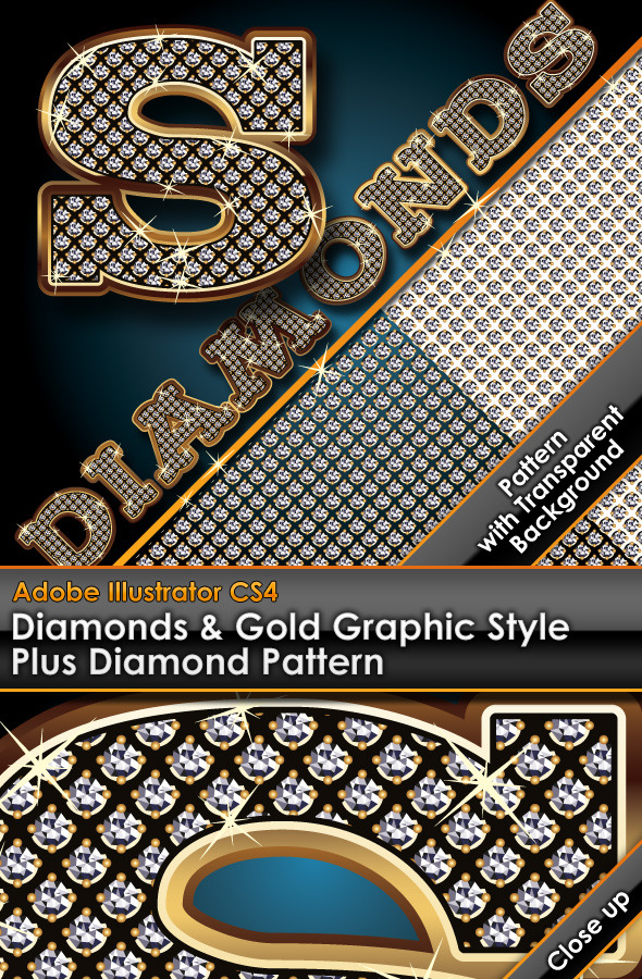 Diamonds & Gold Graphic Style Plus Diamond Pattern - Styles Illustrator