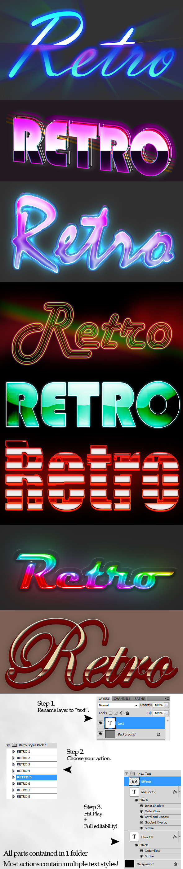 Retro Style Text Actions - Photoshop Add-ons