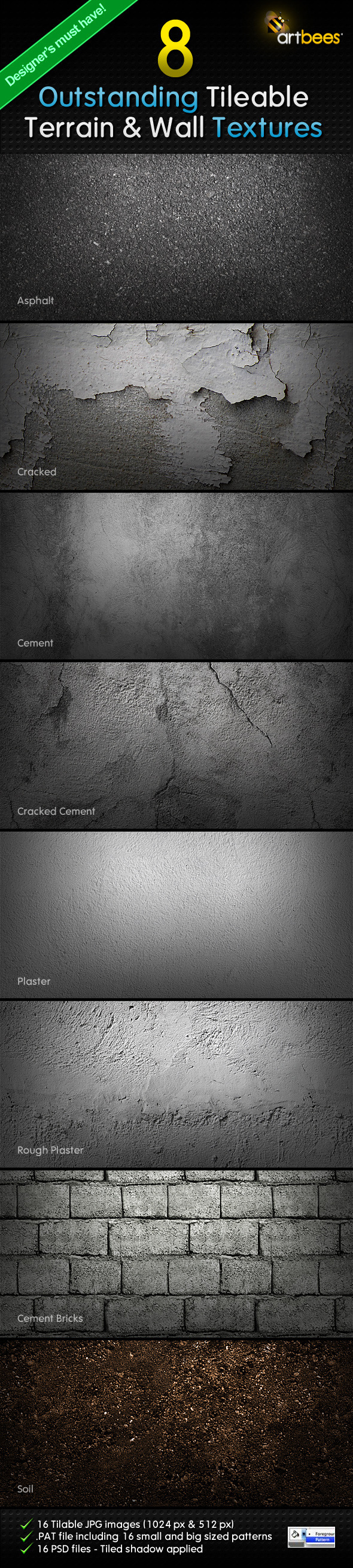 8 Tileable Terrain & Wall Textures - Textures / Fills / Patterns Photoshop