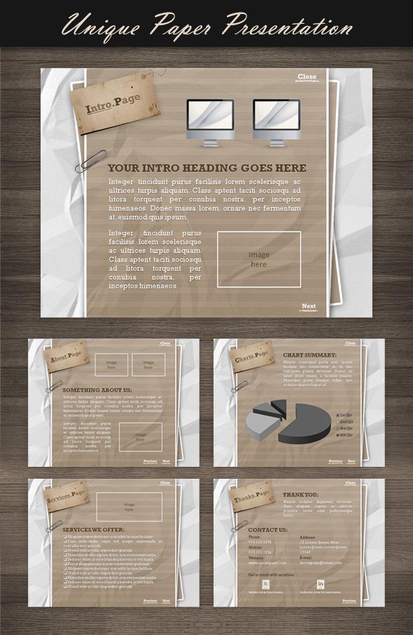 Unique Paper Presentation - Powerpoint Templates Presentation Templates