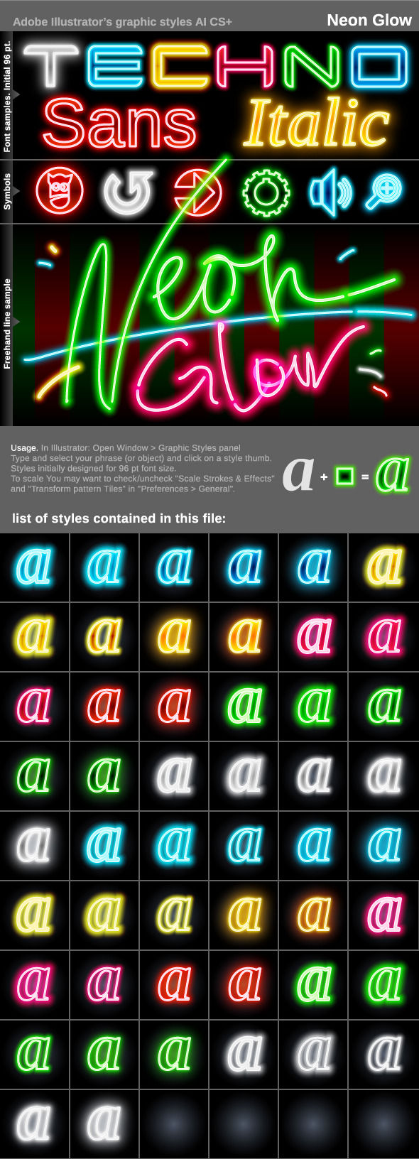 Illustrator Graphic Styles. Neon Glow - Styles Illustrator