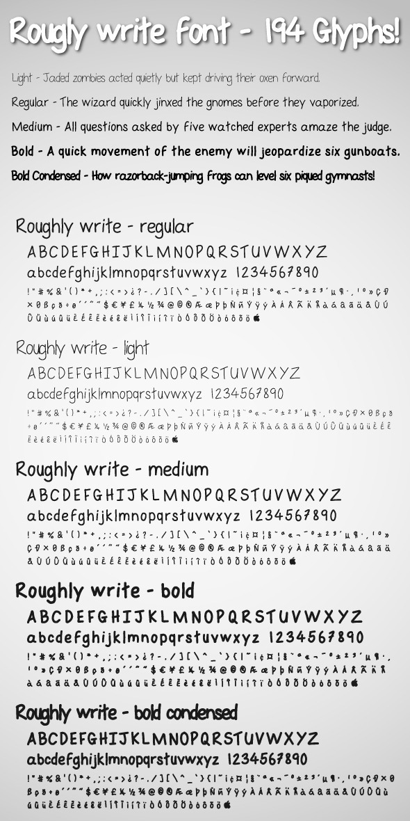 Roughly Write Set / Handwriting / 194 glyphs / ttf - Hand-writing Script
