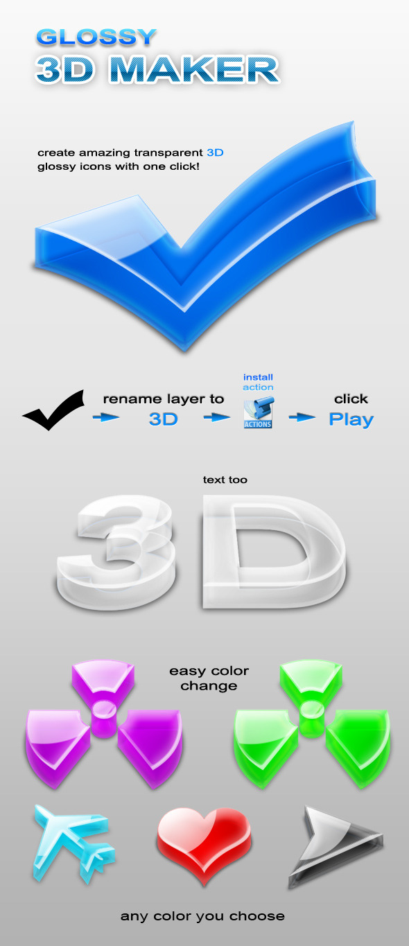 3D Glossy Maker - Utilities Actions