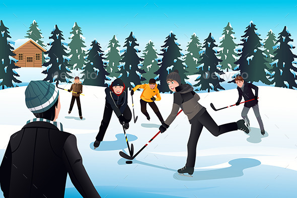 GraphicRiver Men Playing Ice Hockey 8790316