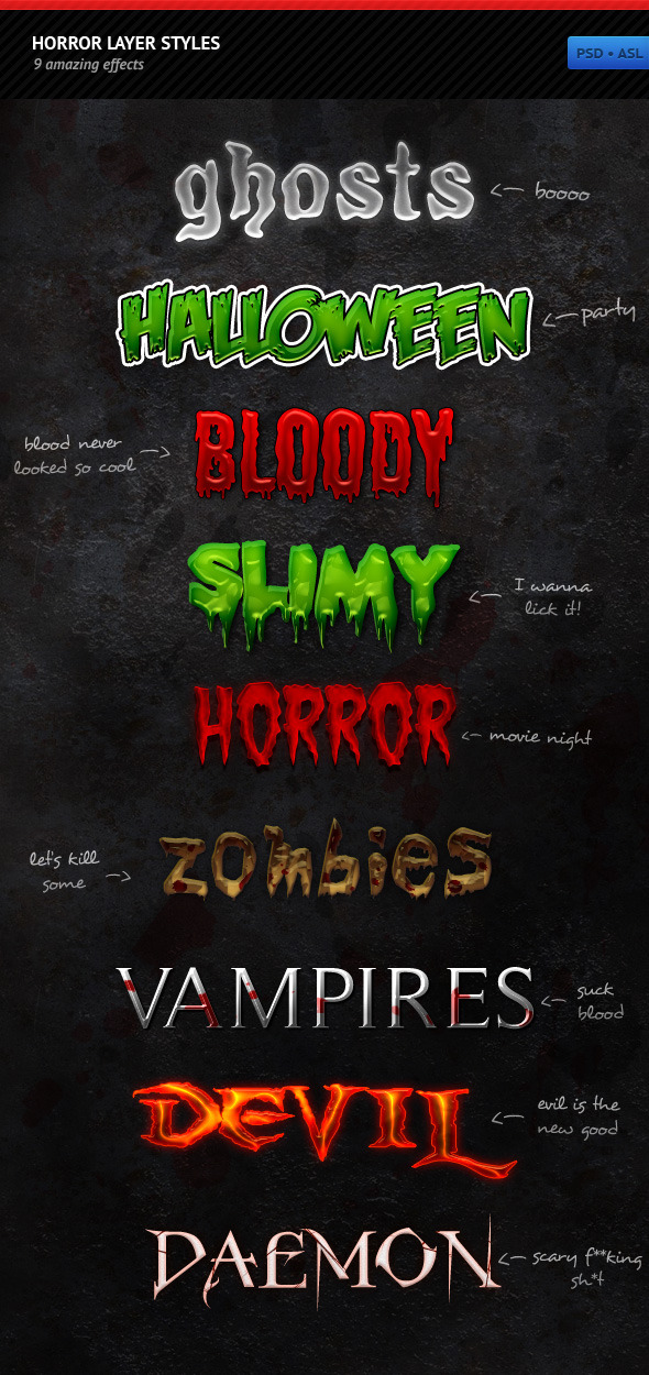 Horror Layer Styles - Text Effects Styles