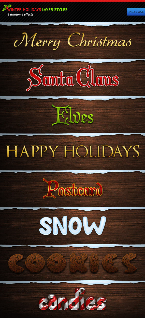 Winter Holidays Layer Styles - Text Effects Styles