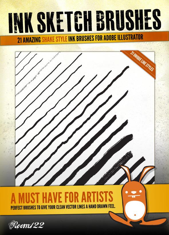 Ink Sketch Lines - 21 Illustrator Brushes - Artistic Brushes
