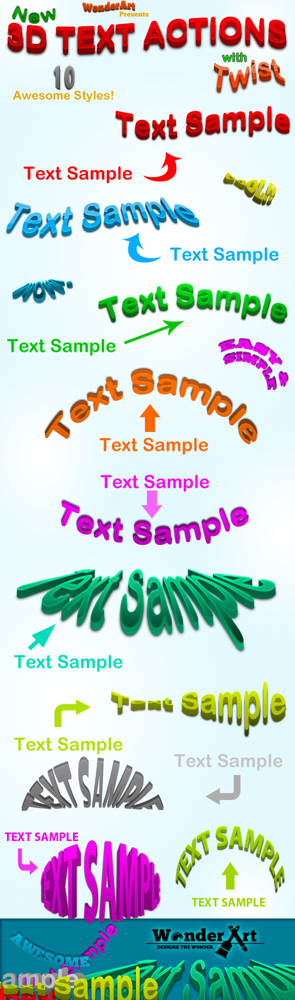 3D Warped Text Action